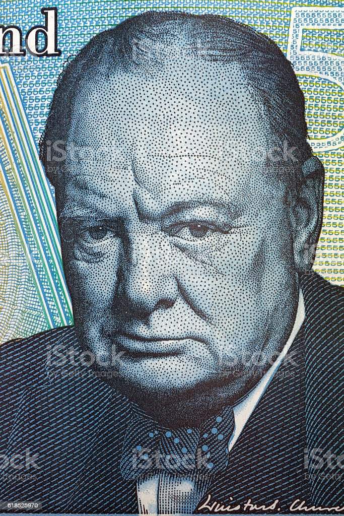 Winston Churchill portrait from British money stock photo