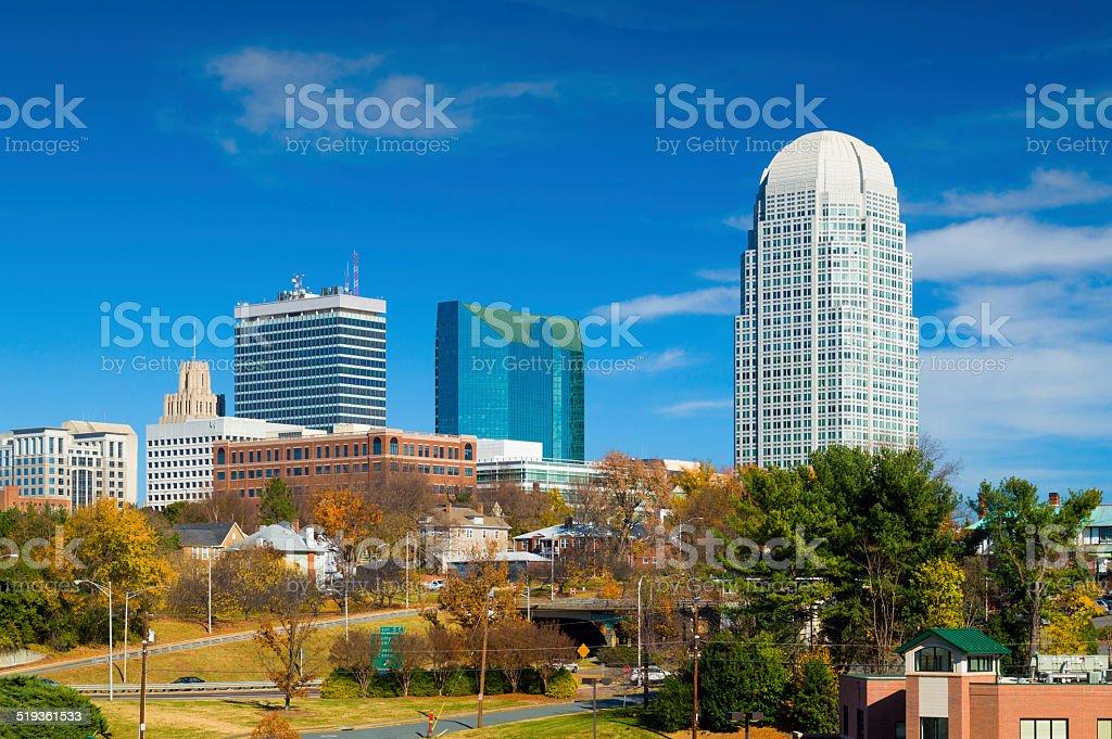 Winston-Salem downtown skyline during Autumn stock photo