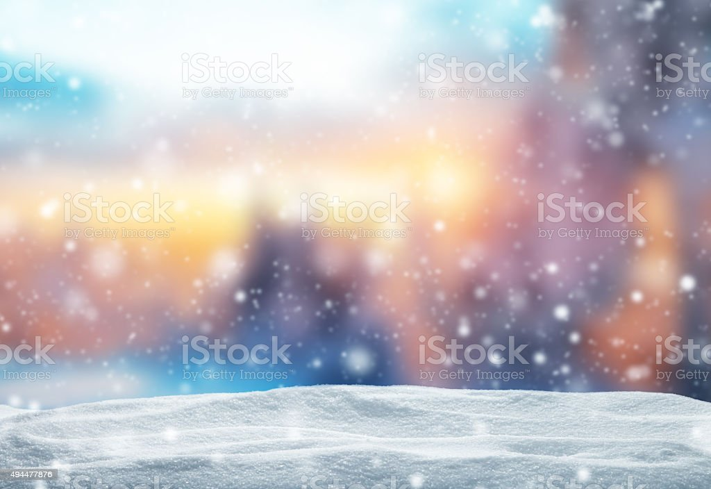 Winter abstract background with snow pile stock photo