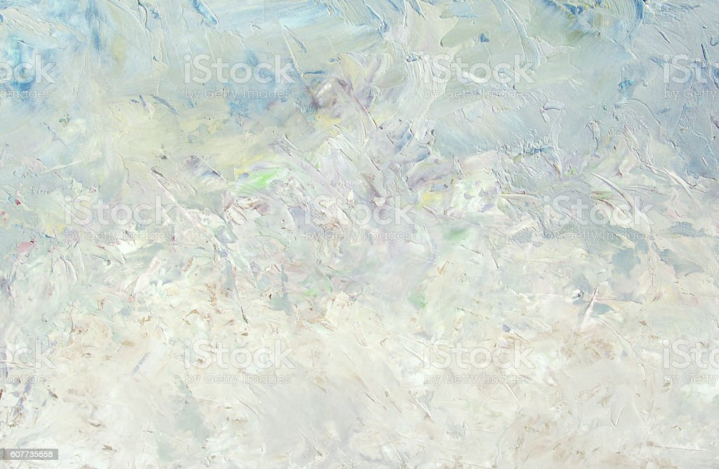 Winter abstract light white blue oil painting background stock photo