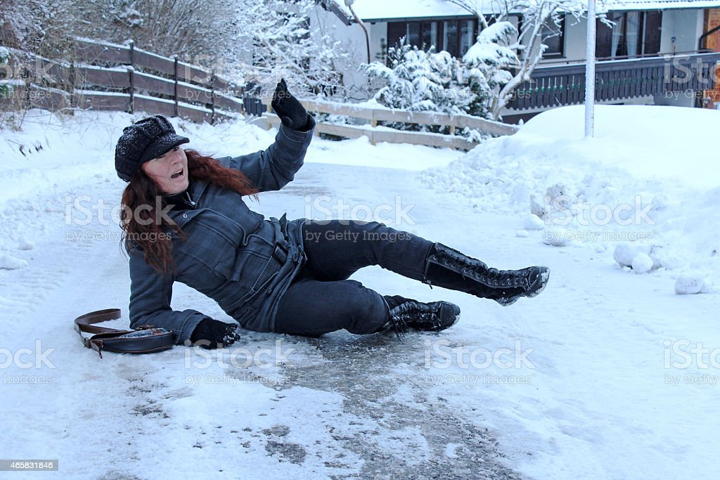 winter accidents stock photo