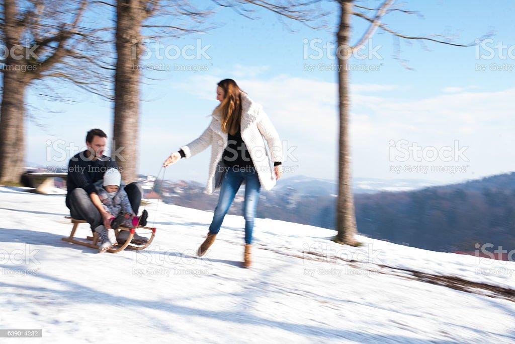 Winter adventure stock photo
