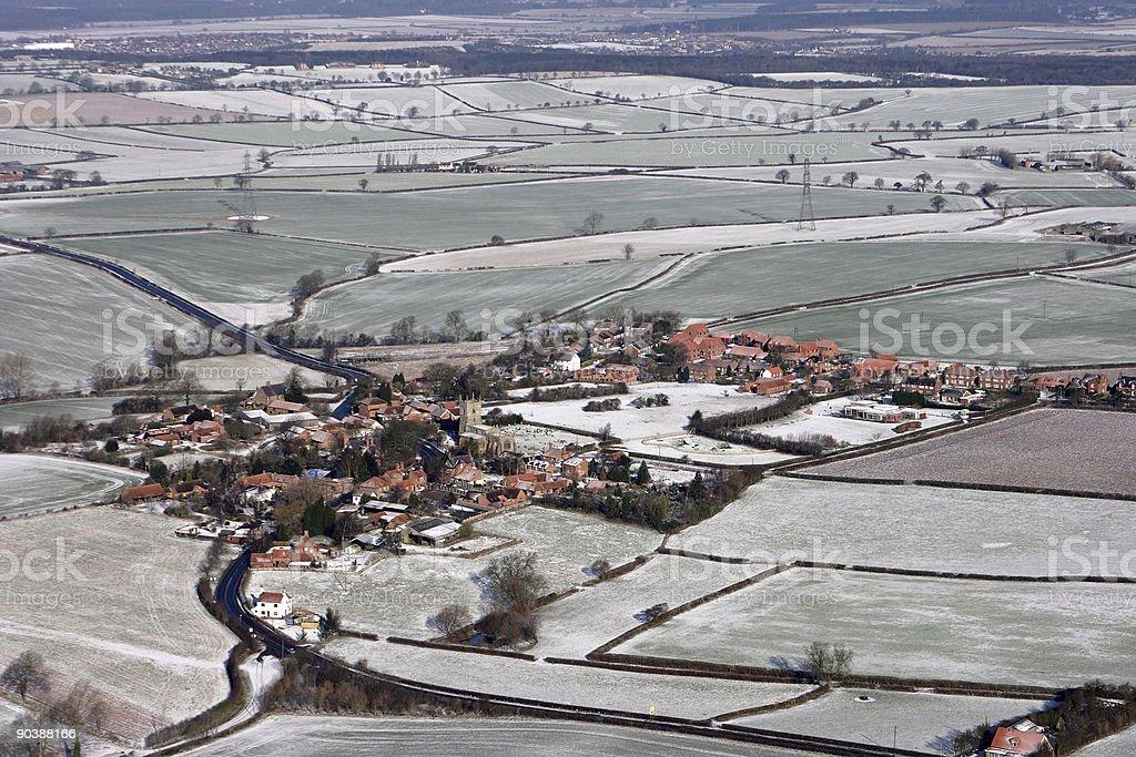 Winter aerial scene stock photo