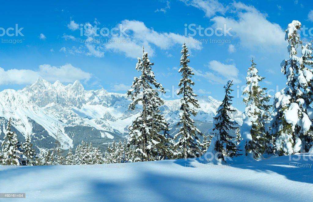 Winter Alp mountain landscape stock photo