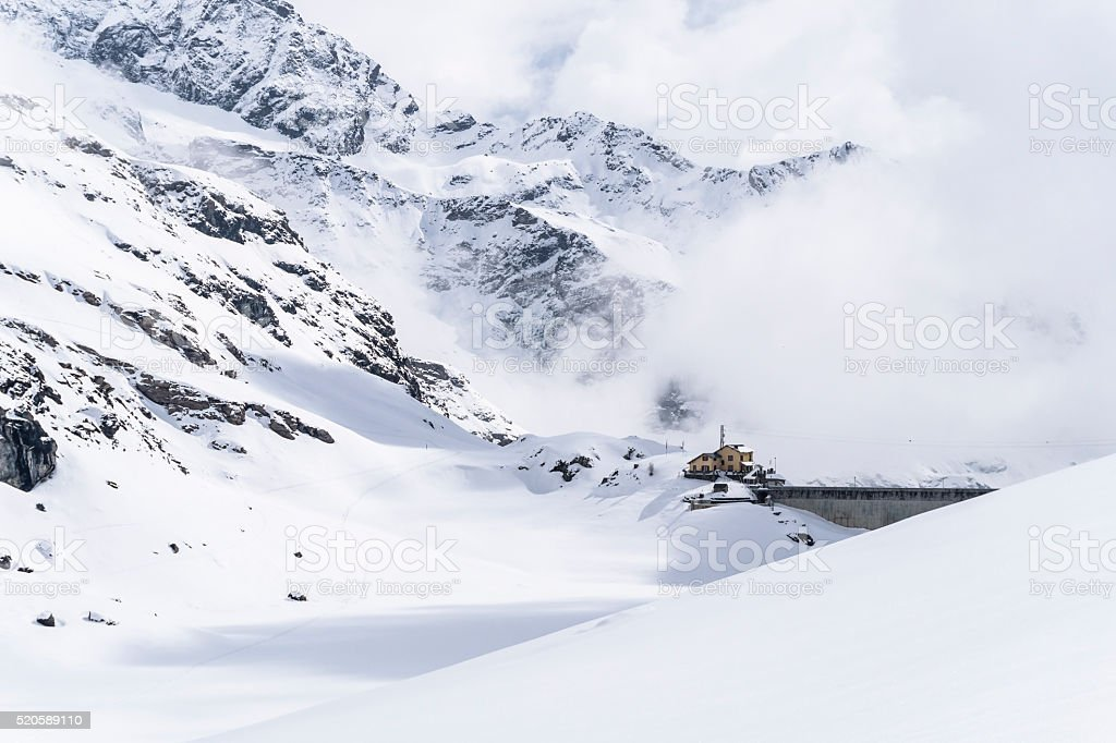 Winter alpine lake stock photo