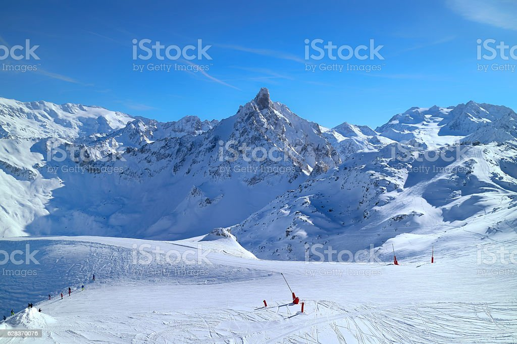 Winter alpine snow landscape with ski slopes stock photo