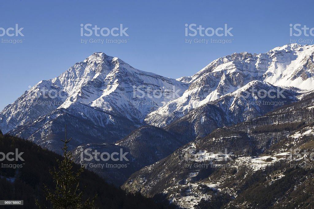 Winter Alpine view stock photo