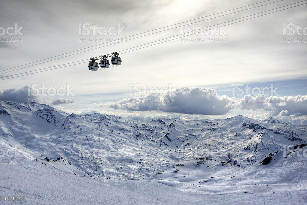 Winter Alps landscape from ski resort Val Thorens stock photo
