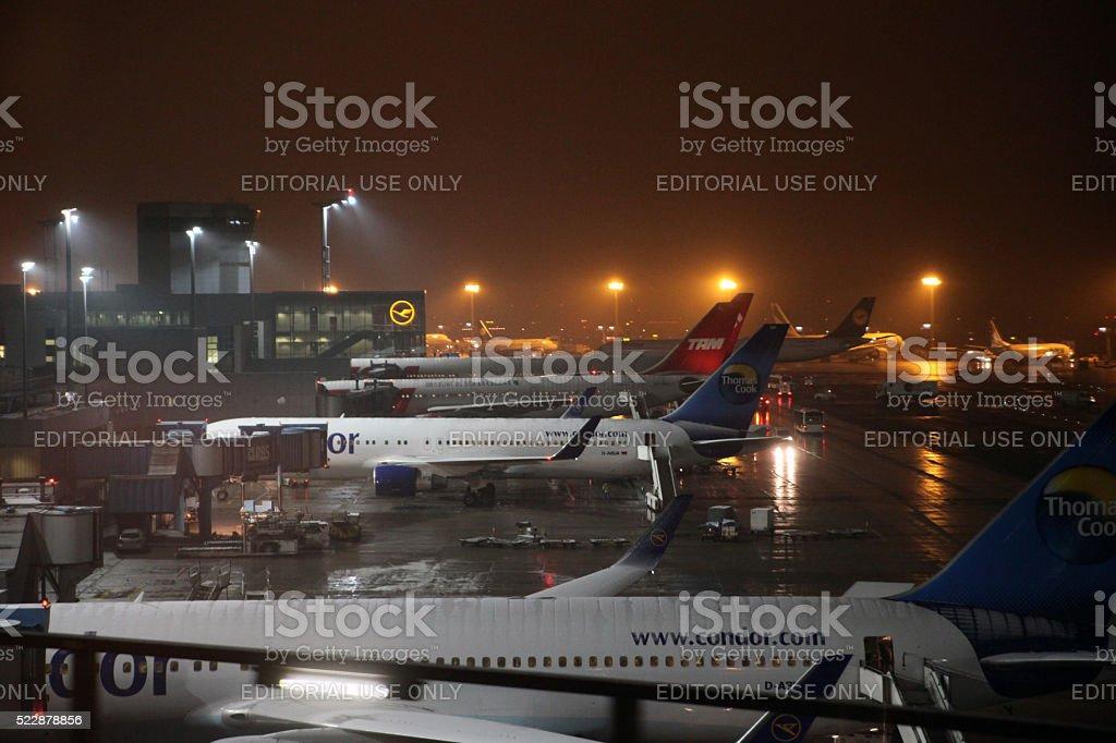 Winter and snowfall at Frankfurt Airport stock photo