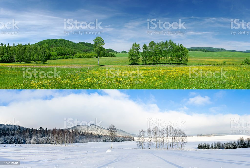 Winter and summer stock photo