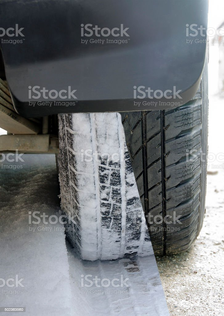 Winter and summer tires on the car stock photo