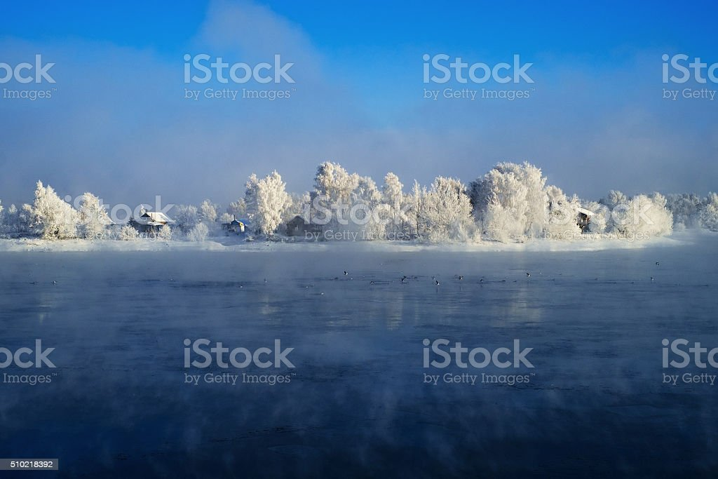 Winter Angara River stock photo
