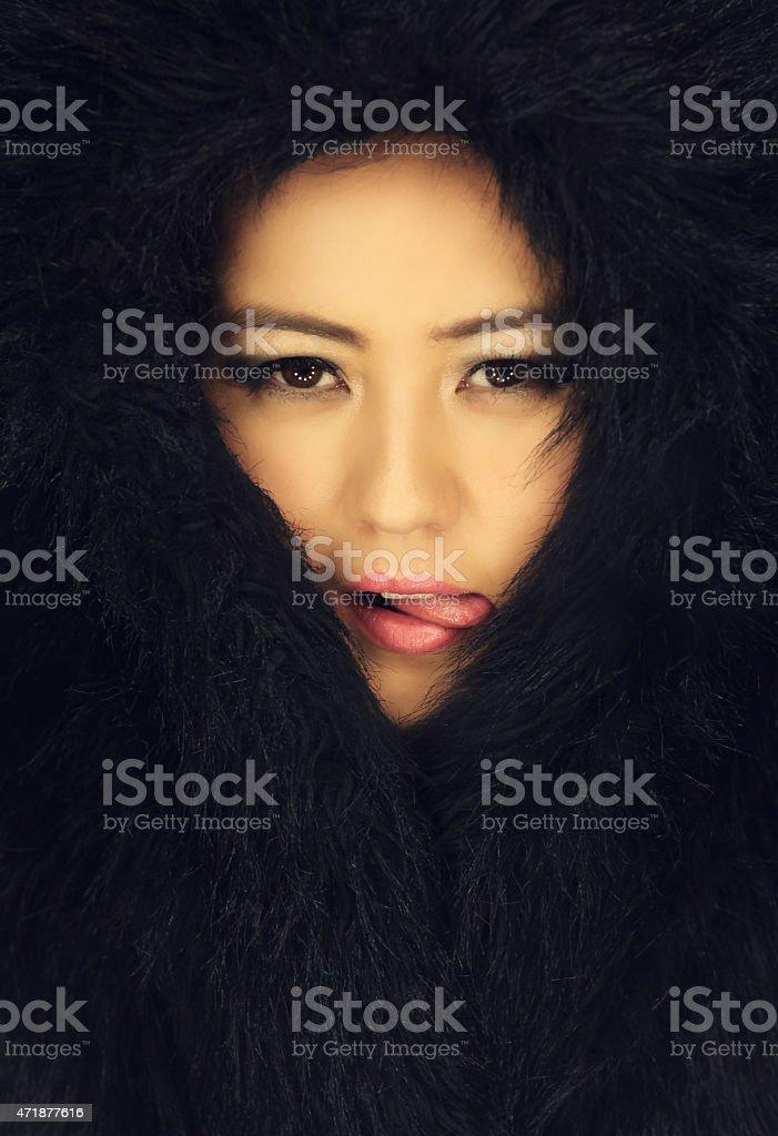 Winter Asian Woman stock photo