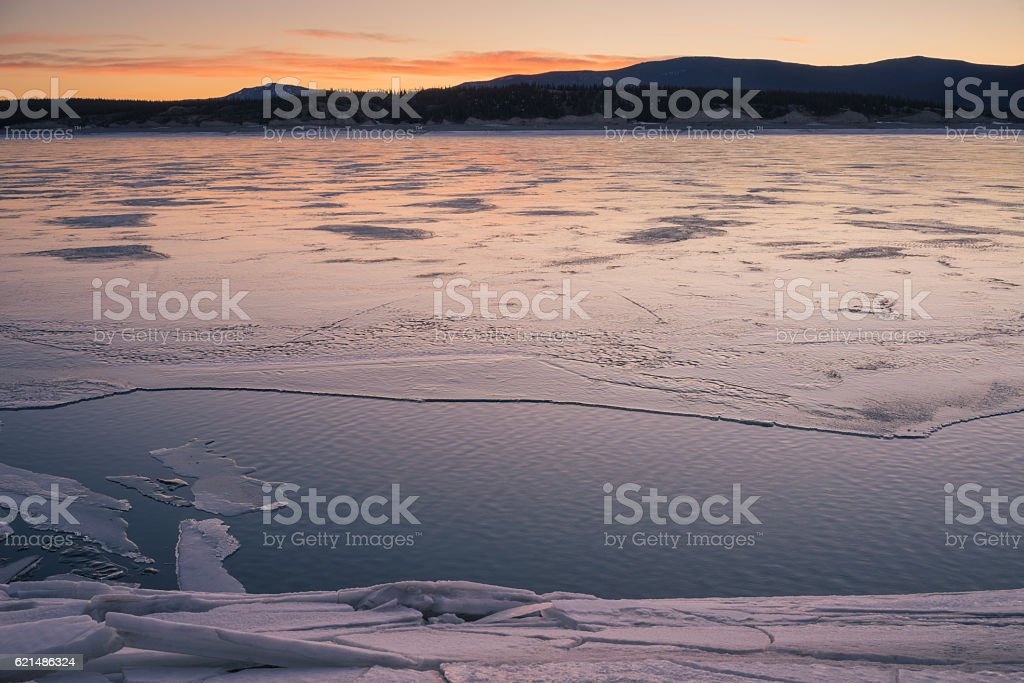 Winter at Abraham Lake stock photo