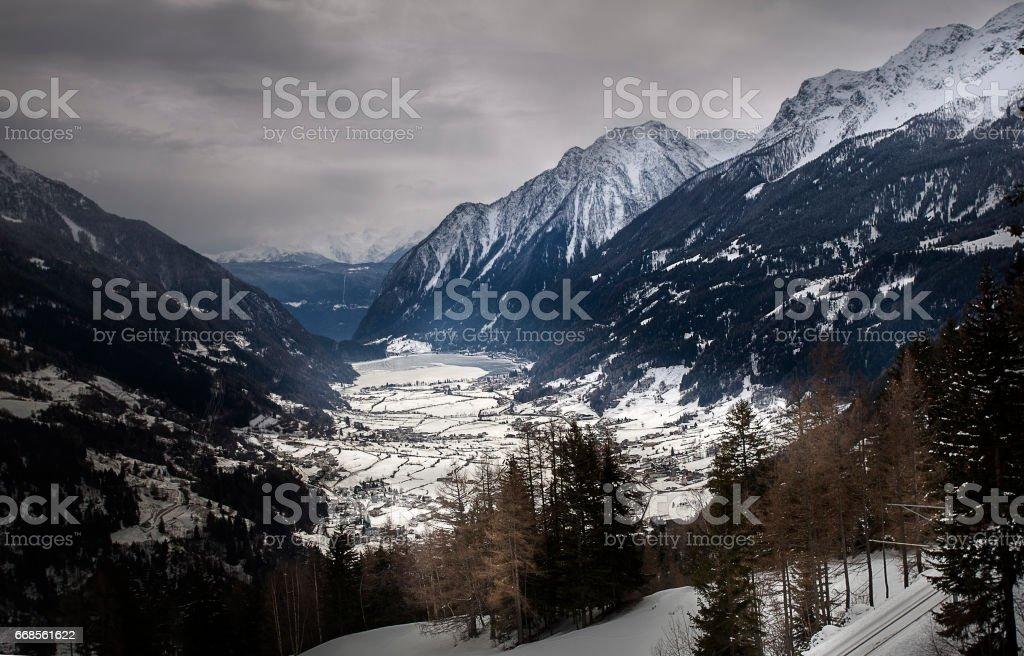 Winter at Bernina Pass, Switzerland stock photo