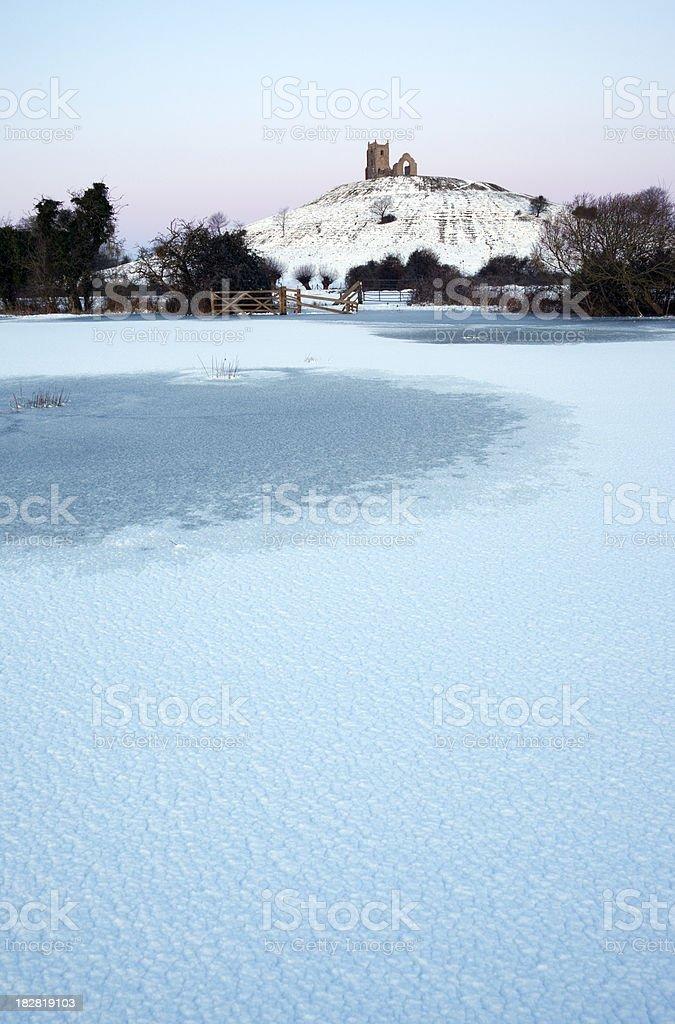 Winter at Burrow Mump. stock photo