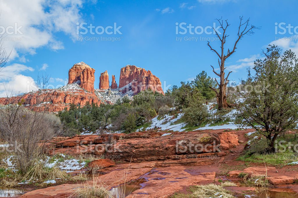 Winter at Cathedral Rock stock photo