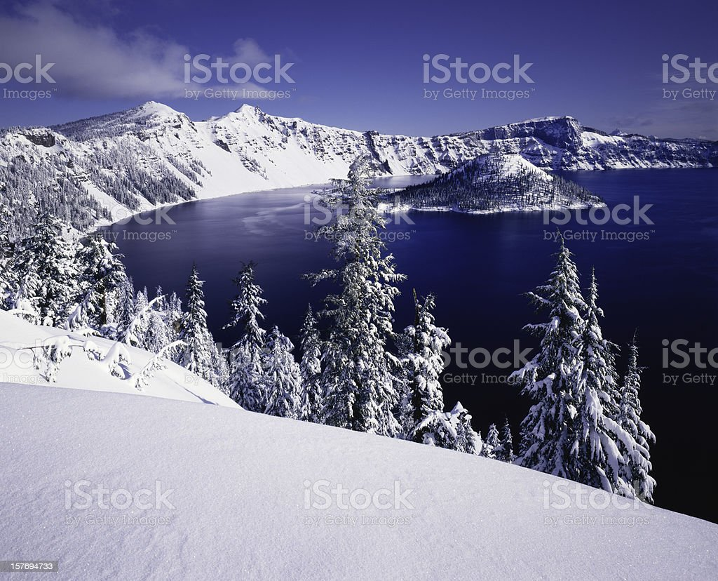 Winter At Crater Lake National Park, Oregon stock photo