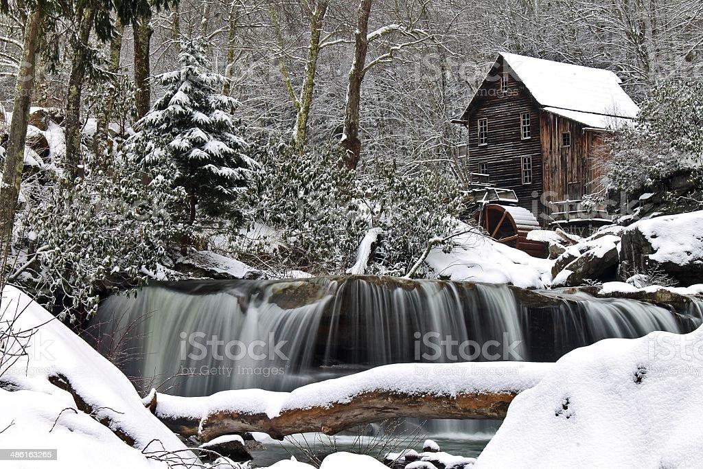 Winter at Glade Creek stock photo