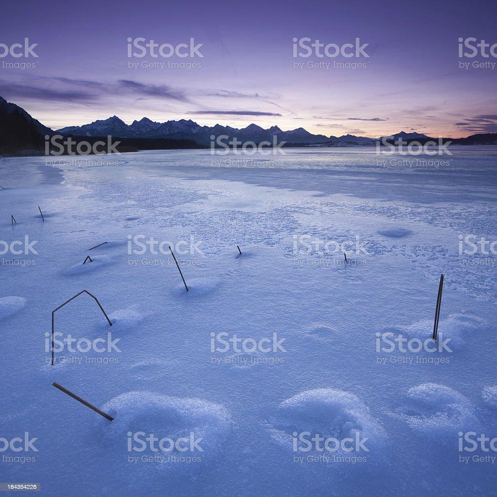 winter at lake bannwaldsee in bavaria- germany stock photo