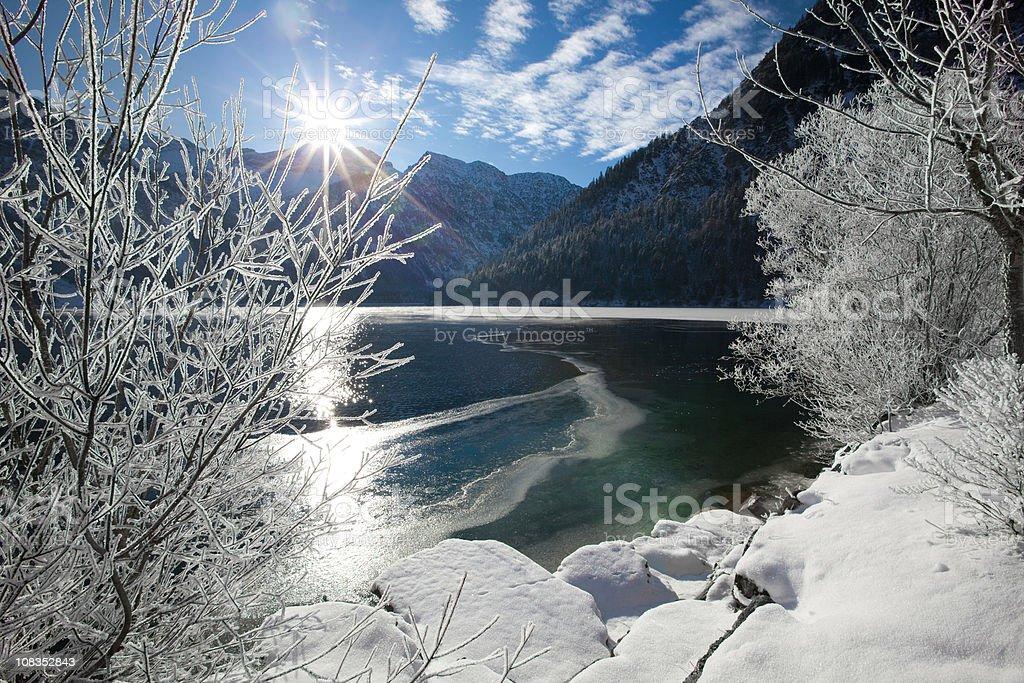 winter at lake plansee in tirol - austria stock photo