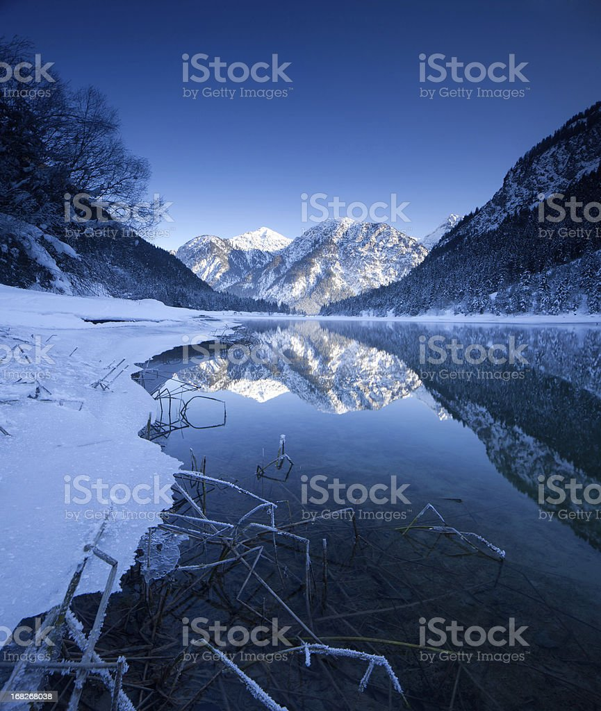 winter at lake plansee in tirol - austria royalty-free stock photo