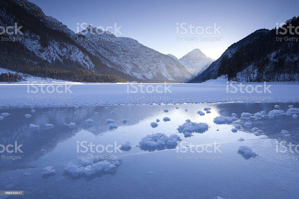 winter at lake plansee in tirol - austria royalty-free stock photo