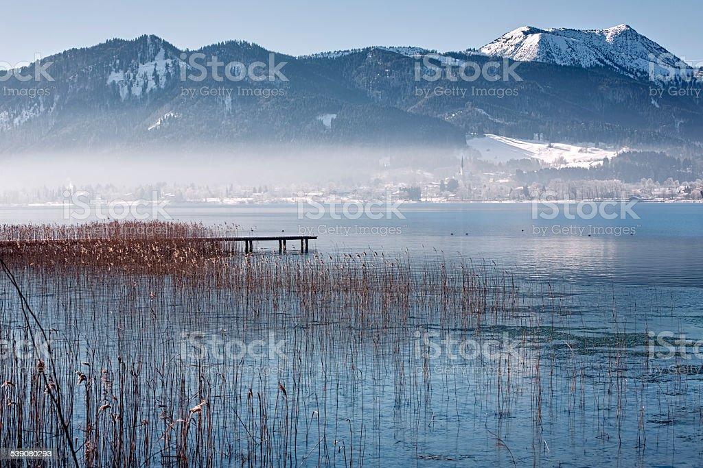 Winter at lake Tegernsee, Bavaria, Germany stock photo