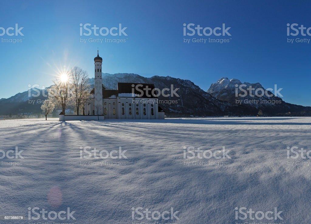 Winter at St. Coloman Church in Schwangau Germany stock photo
