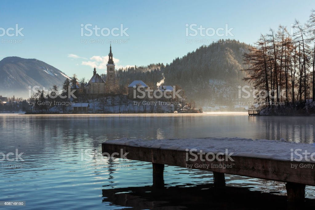 Winter at the Alpine lake stock photo