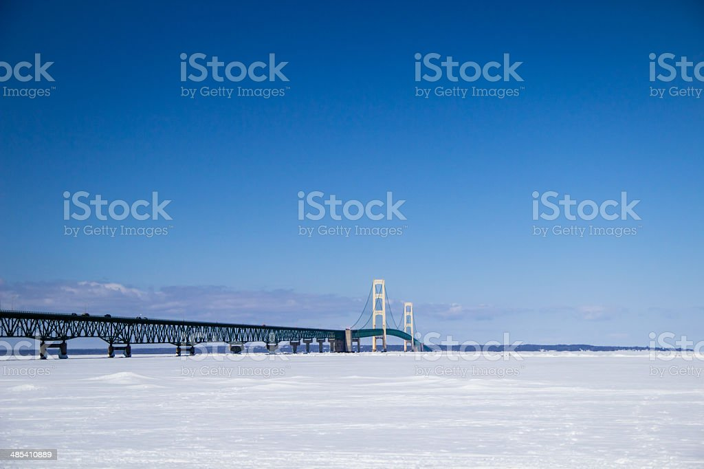 Winter At The Mackinaw Bridge stock photo
