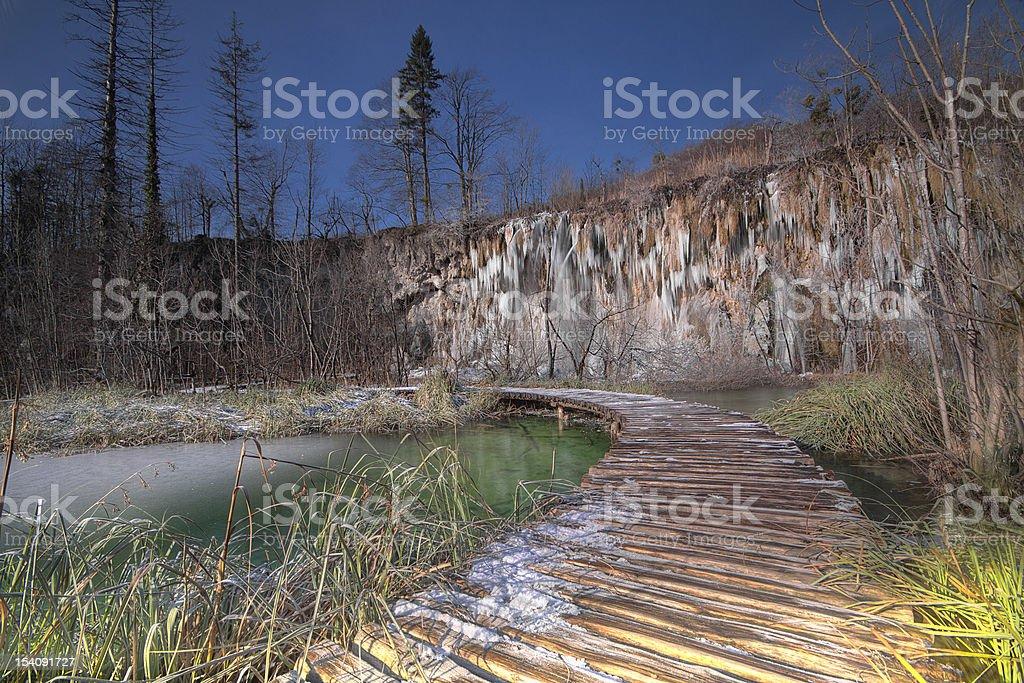 Inverno no dos Lagos de Plitvice foto royalty-free