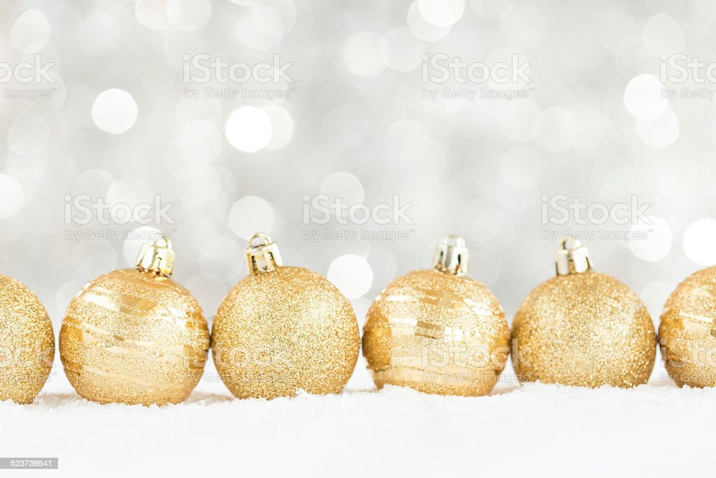 Winter background, Christmas balls on snow stock photo