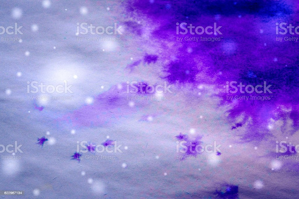 winter background purple ink drips and snowflakes stock photo
