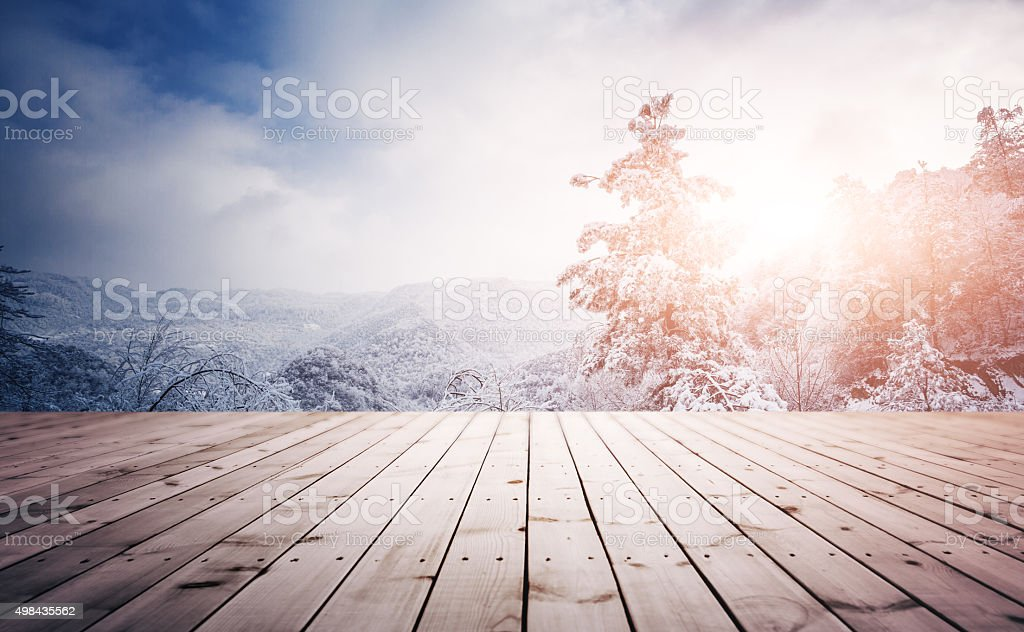 Winter background with empty wooden planks stock photo