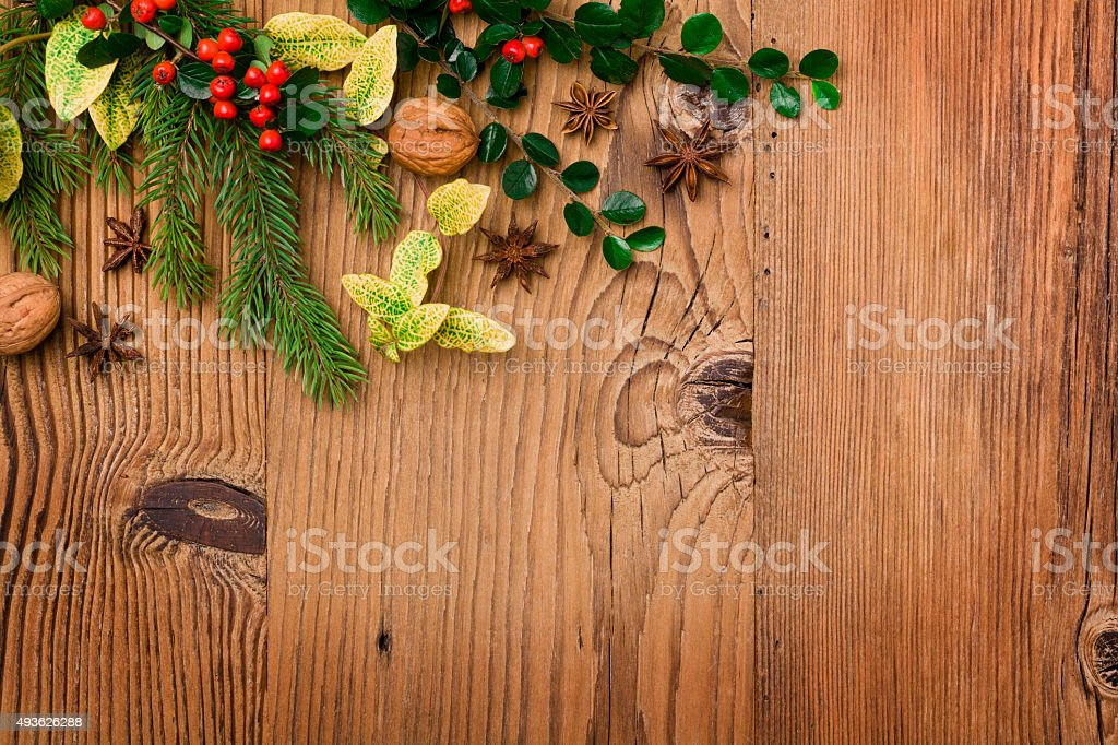 Winter background with natural green plants and xmas decoration stock photo