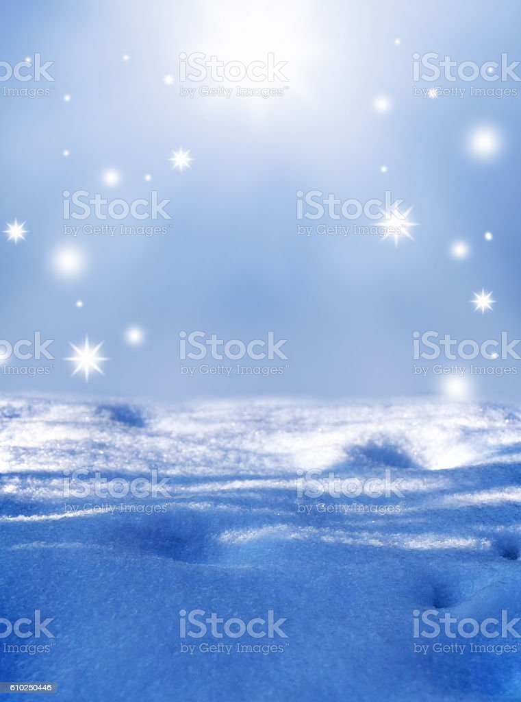 Winter background with some soft highlights , snow flakes and snow. stock photo