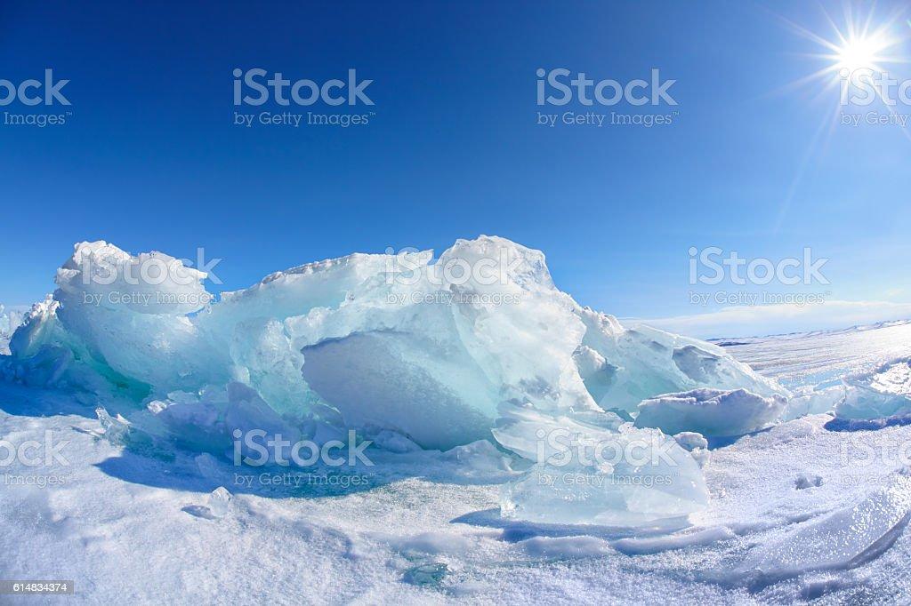 Winter Baikal lake stock photo