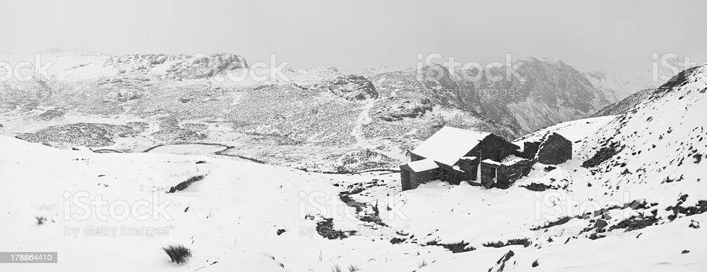 Winter barn. stock photo