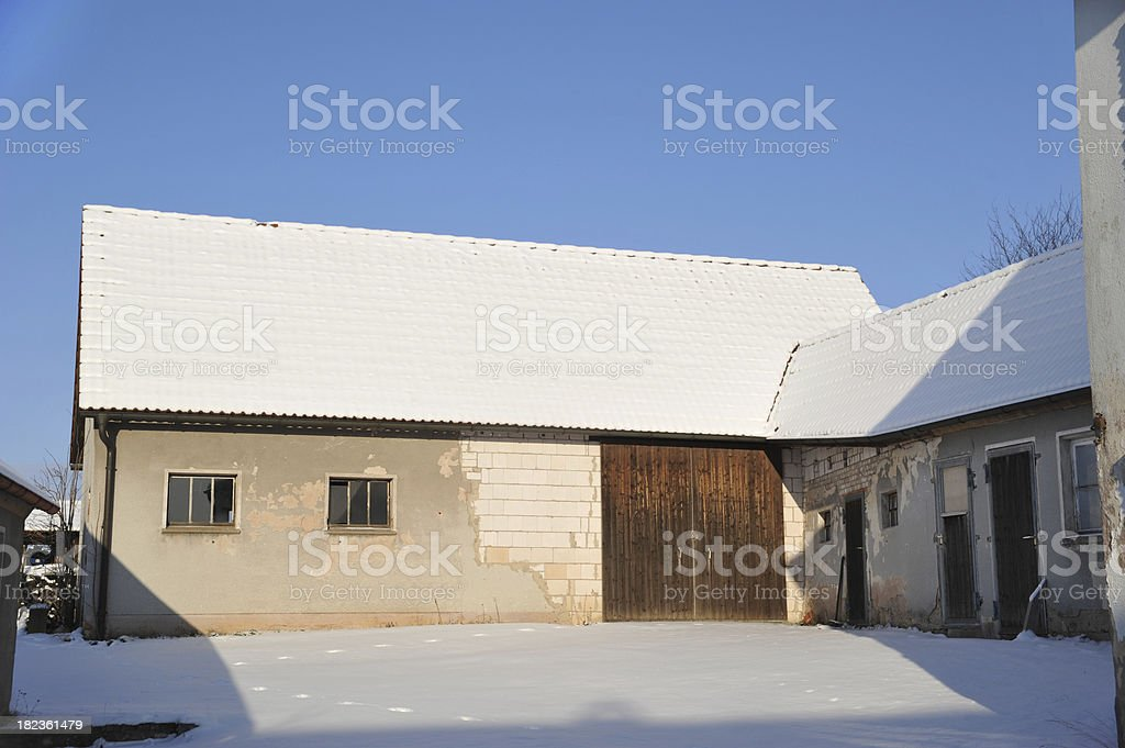 winter barn with blue sky royalty-free stock photo
