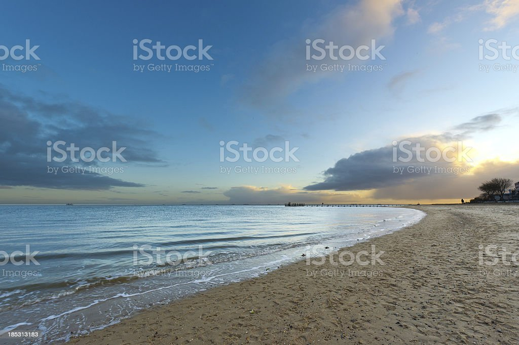 Winter Beach and North Sea stock photo