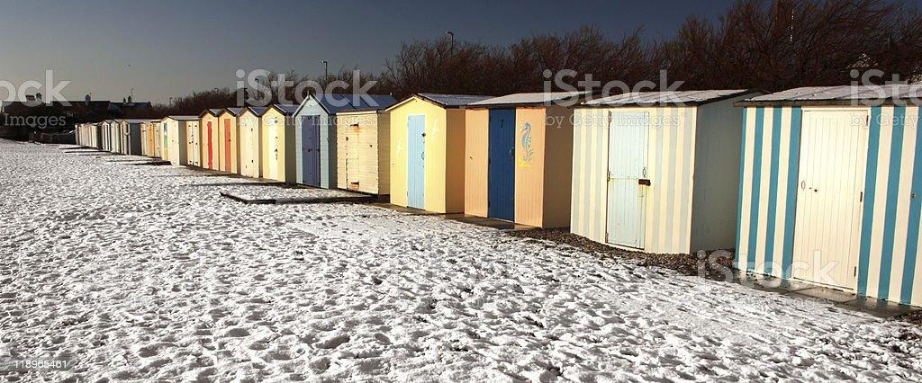 Winter Beach Huts stock photo
