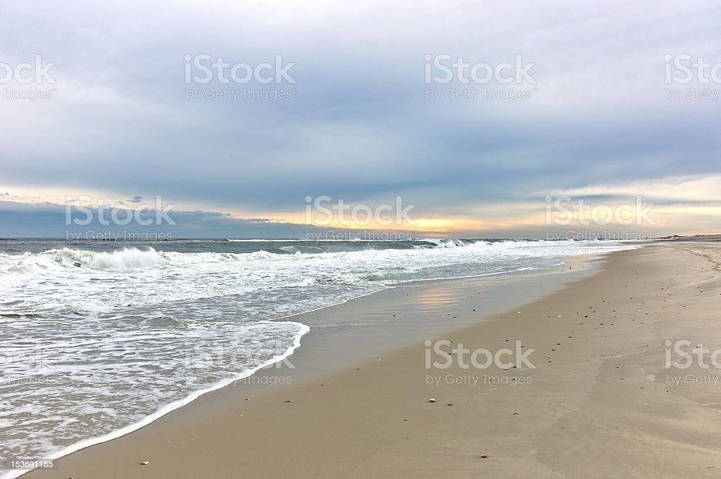 Winter Beach Sunrise stock photo
