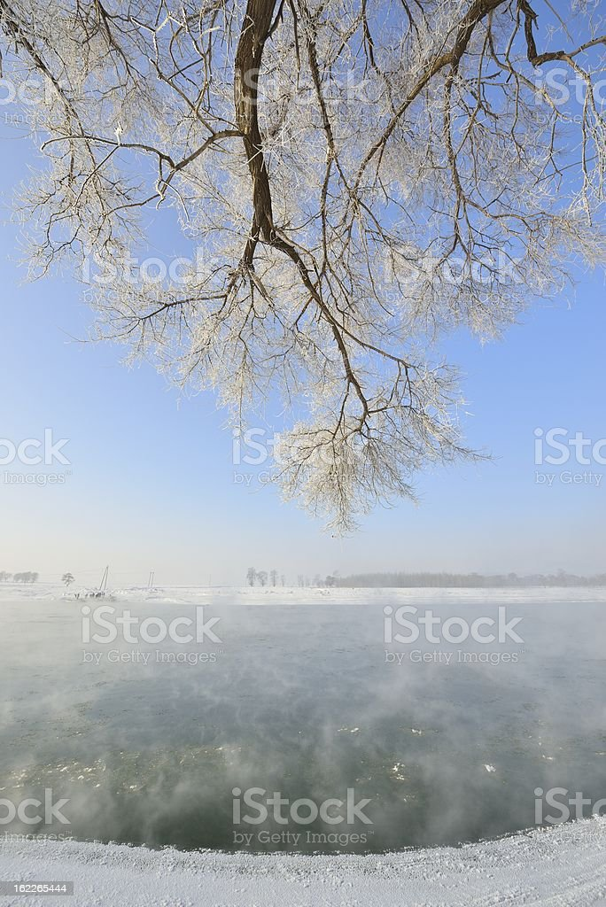 Winter, beautiful scenery of the songhua river stock photo