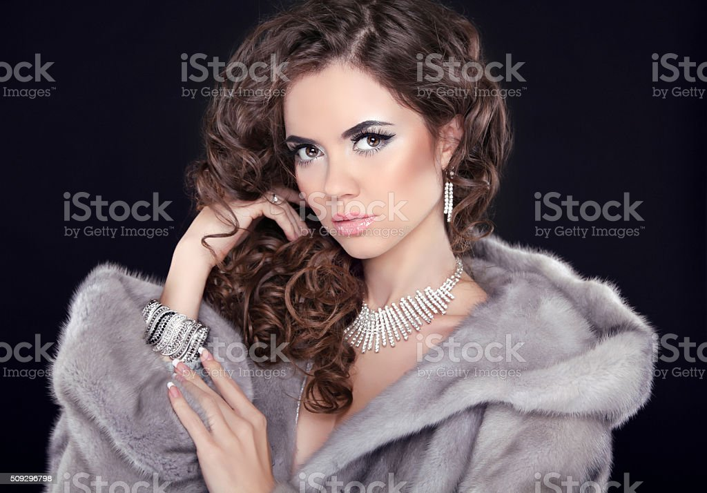 Winter beauty woman in mink fur coat. Fashion girl model stock photo