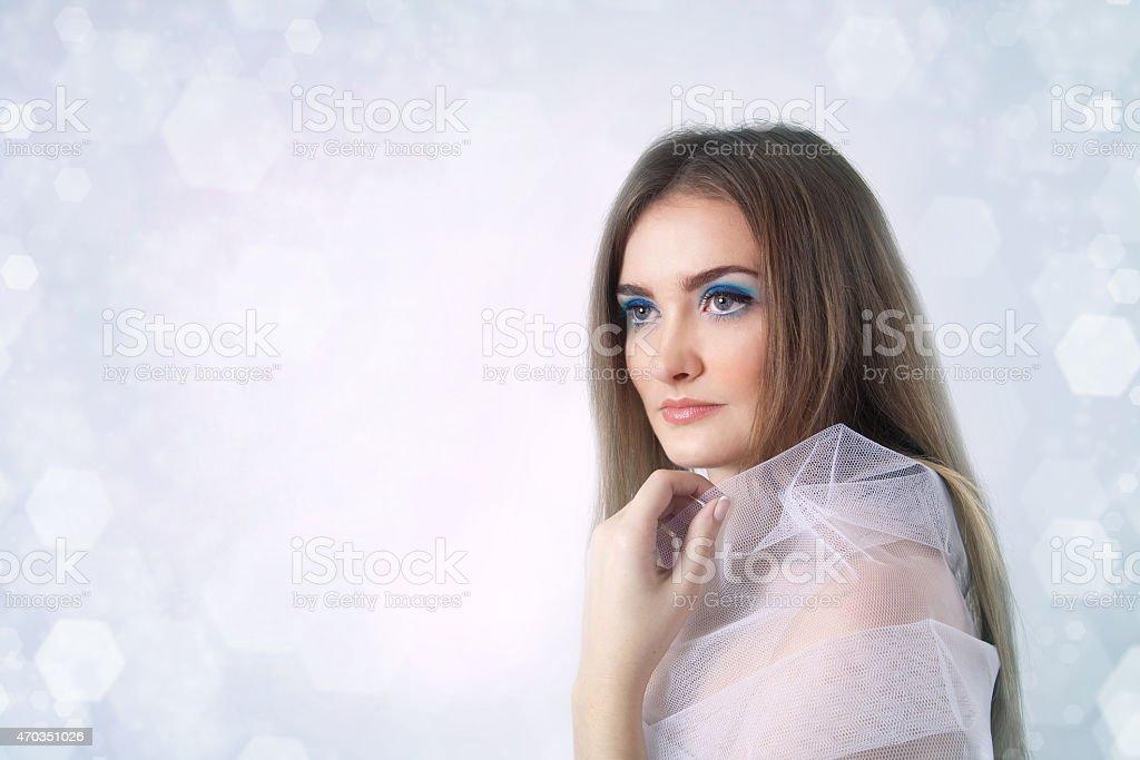 Winter beauty young woman portrait stock photo
