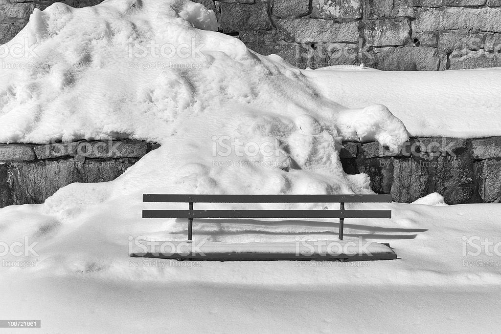 Winter, bench in deep snow royalty-free stock photo