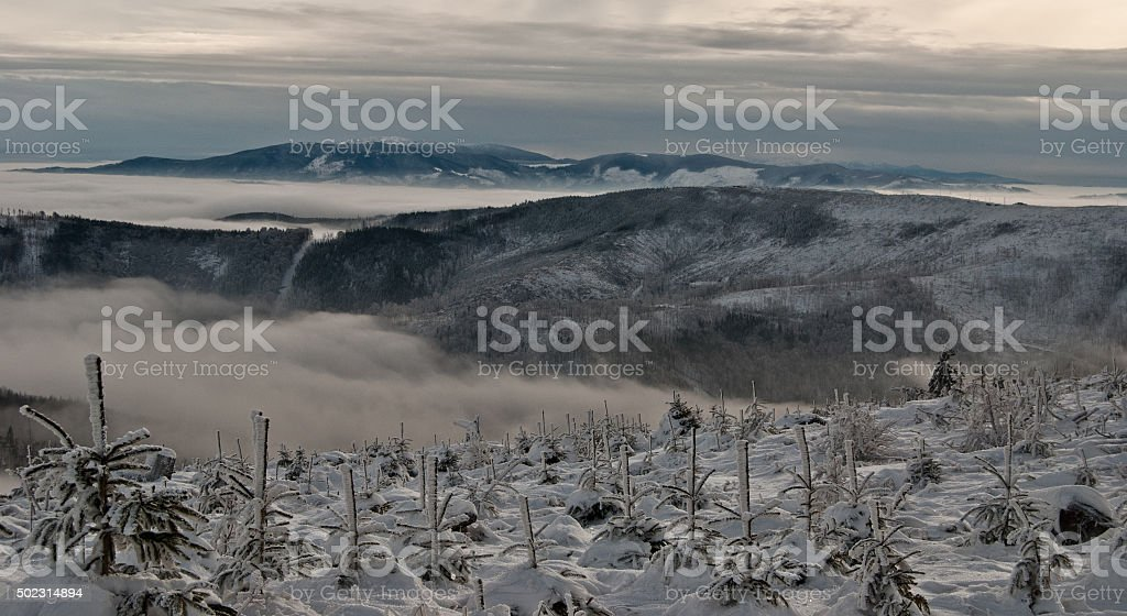 winter Beskids mountains panorama with misty stock photo