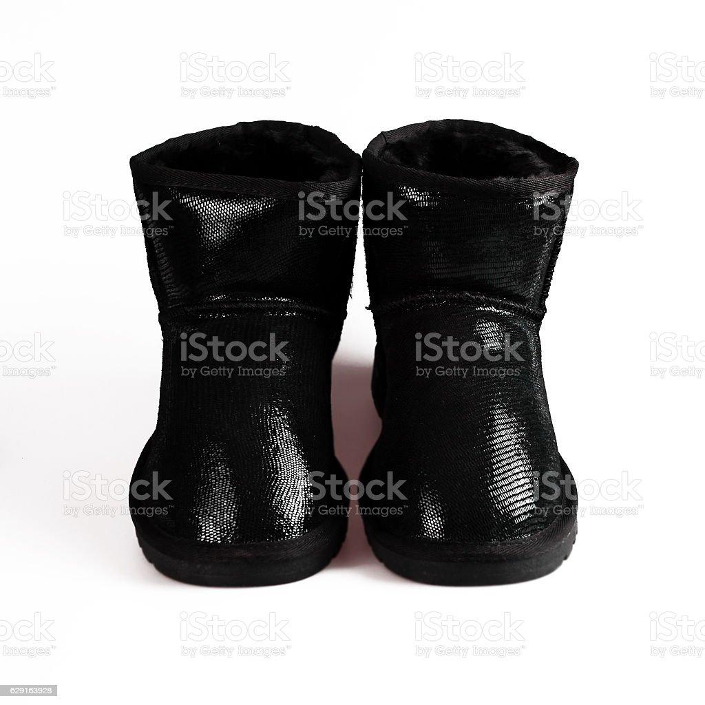 winter black boots stock photo