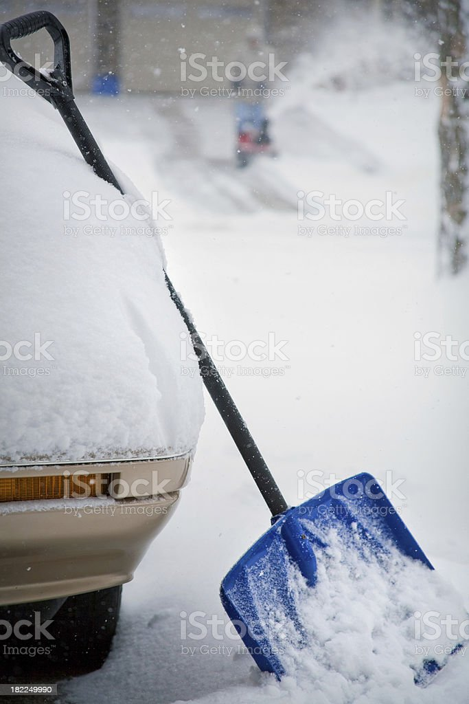 Winter Blizzard and Snow Shovel royalty-free stock photo